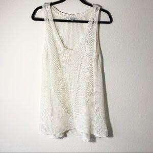 CAbi Ivory Open Weave Crochet Knit Linen Top M